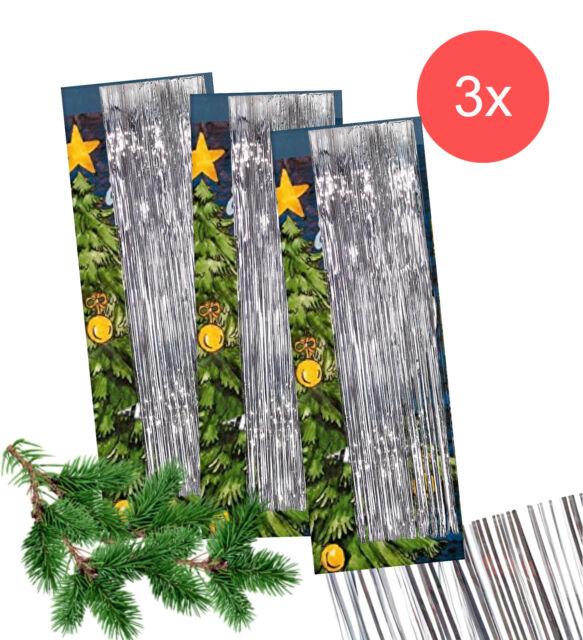 Dekoration Weihnachtsbaum.3x Lametta Silber Deko Dekoration Weihnachtsbaum Tannenbaum Weihnachten