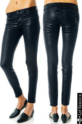 LIP SERVICE MOTO GOTH PUNK SHIMMER LEATHER LOOK ROCKABILLY SKINNY PANTS JEANS