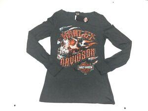 Harley-Davidson-Women-039-s-Gray-Bling-Open-neck-Skull-Long-Sleeve-shirt-XL