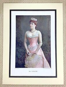 1899 Antico Stampa Ritratto Di Lillie Langtry Attrice Vittoriano Lady Teatro Art