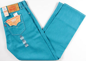 19635800c5d Levi's Original 501 Shrink to Fit Jeans- NEW- Teal classic Levis STF ...