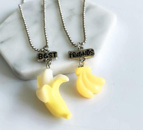 """2PCS Kids /""""Best Friends/"""" Yellow Banana Pendant Necklaces For Children Necklace"""