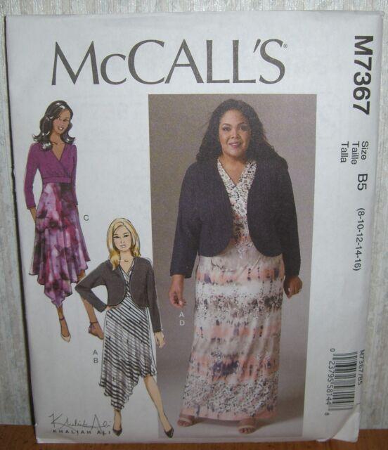 Mccalls M7367 B5 Mp227 Khaliah Ali Dress Shrug Ladies Size 8 16