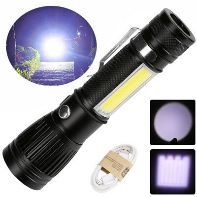 T6 COB Zoomable Light Lamp Torch with LED Flashlight 18650 USB Rechargeable