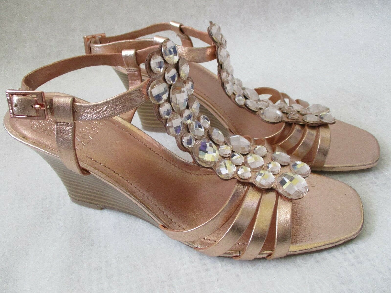 79 VINCE CAMUTO LEATHER ROSE GOLD JEWELED WEDGE SCARPE SIZE 9 1/2 M - NEW