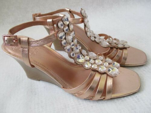 NEW VINCE CAMUTO ROSE GOLD JEWELED WEDGE SHOES SIZE 8 1//2 M