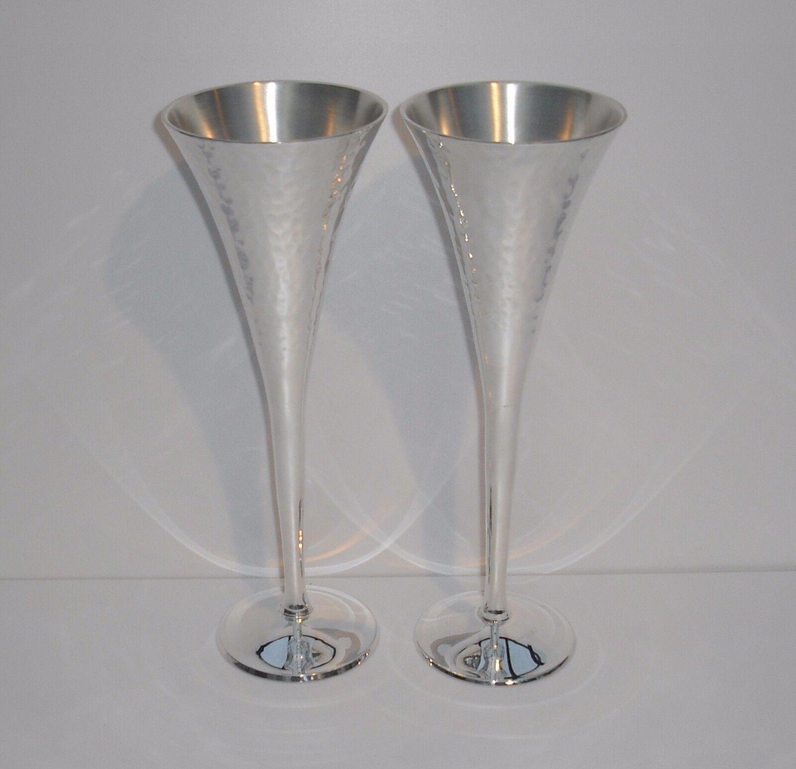 Champán cristal sektglas plateado - 4 unid. - plateado - 22,5 cm de alto -  nuevo
