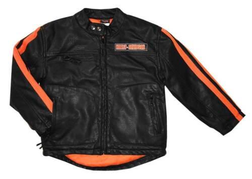 Black 6084849 Harley-Davidson Little Boys/' Striped Faux Leather Biker Jacket
