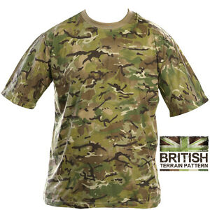 fef8b0c947f4 Mens Army Combat Military British US BTP Camo T-shirt Camouflage ...