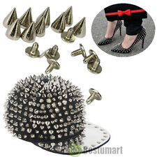 100PCS 10mm Spots Cone Screw Metal Studs Leathercraft Rivet Bullet Spikes Silver