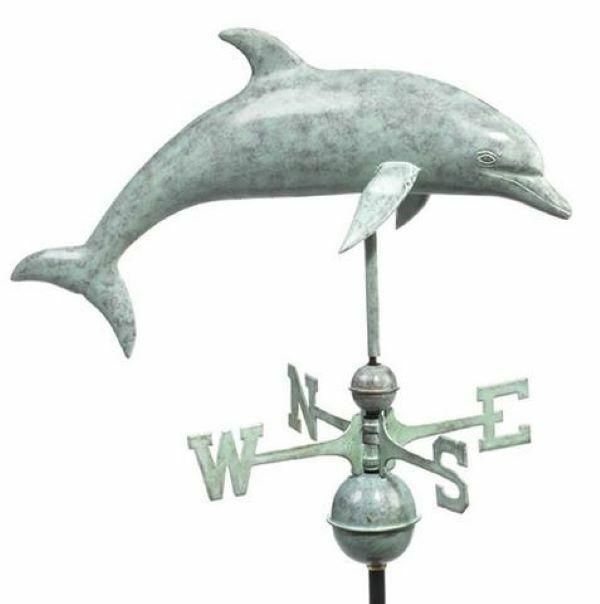 Large Dolphin Copper Verdigris Weathervane