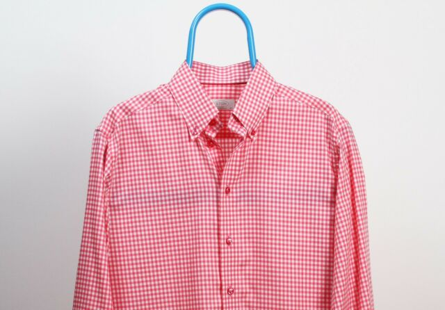 Men's ETON White Red Checked Contemporary Shirt Size 42 16 1/2 MINT