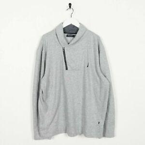 Vintage-NAUTICA-Small-Logo-1-4-Zip-Sweatshirt-Jumper-Grey-Large-L