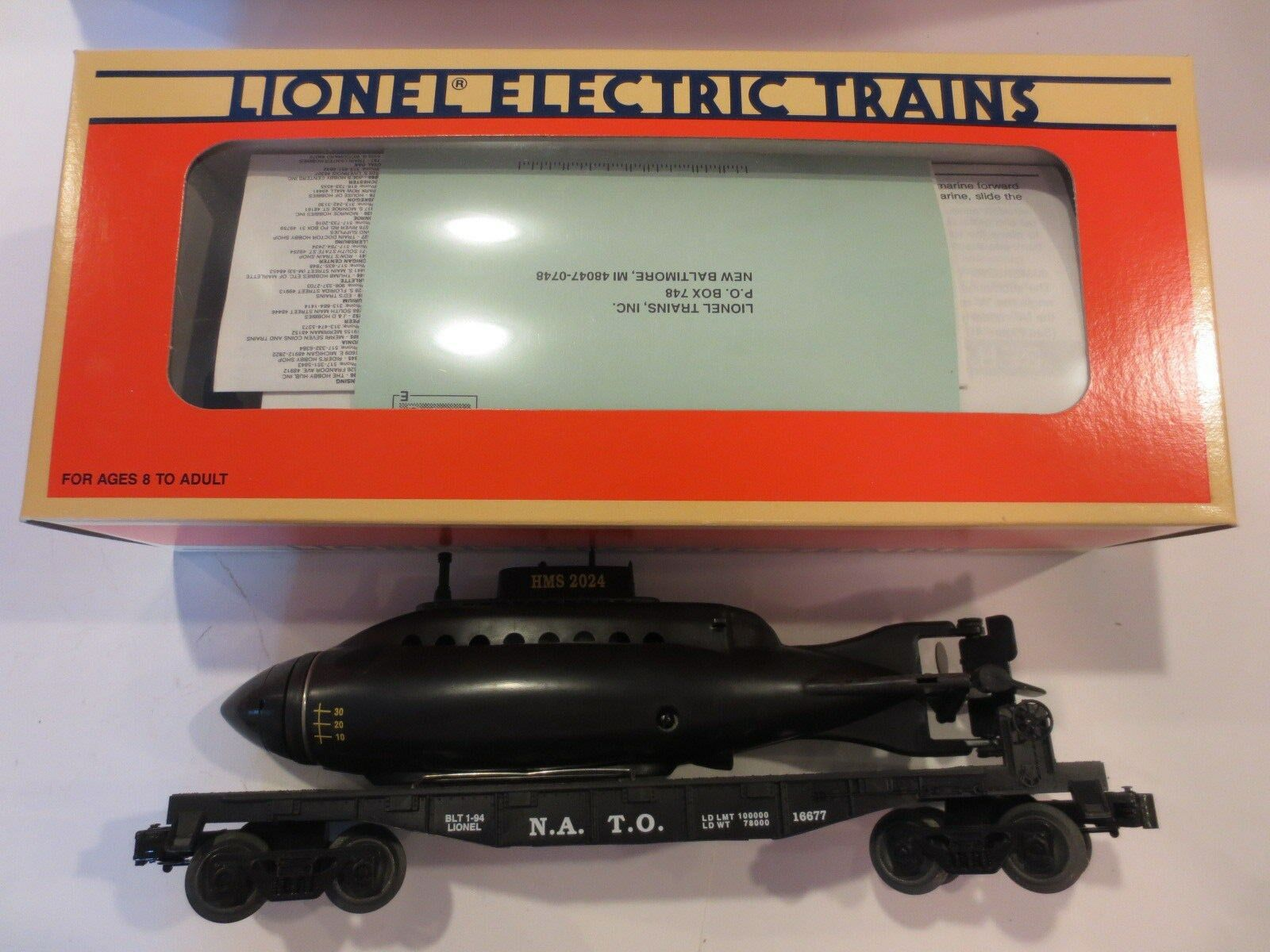 Lionel Flatcar with Royal Navy Submarine N.A.T.O. Item LN Boxed Unrun
