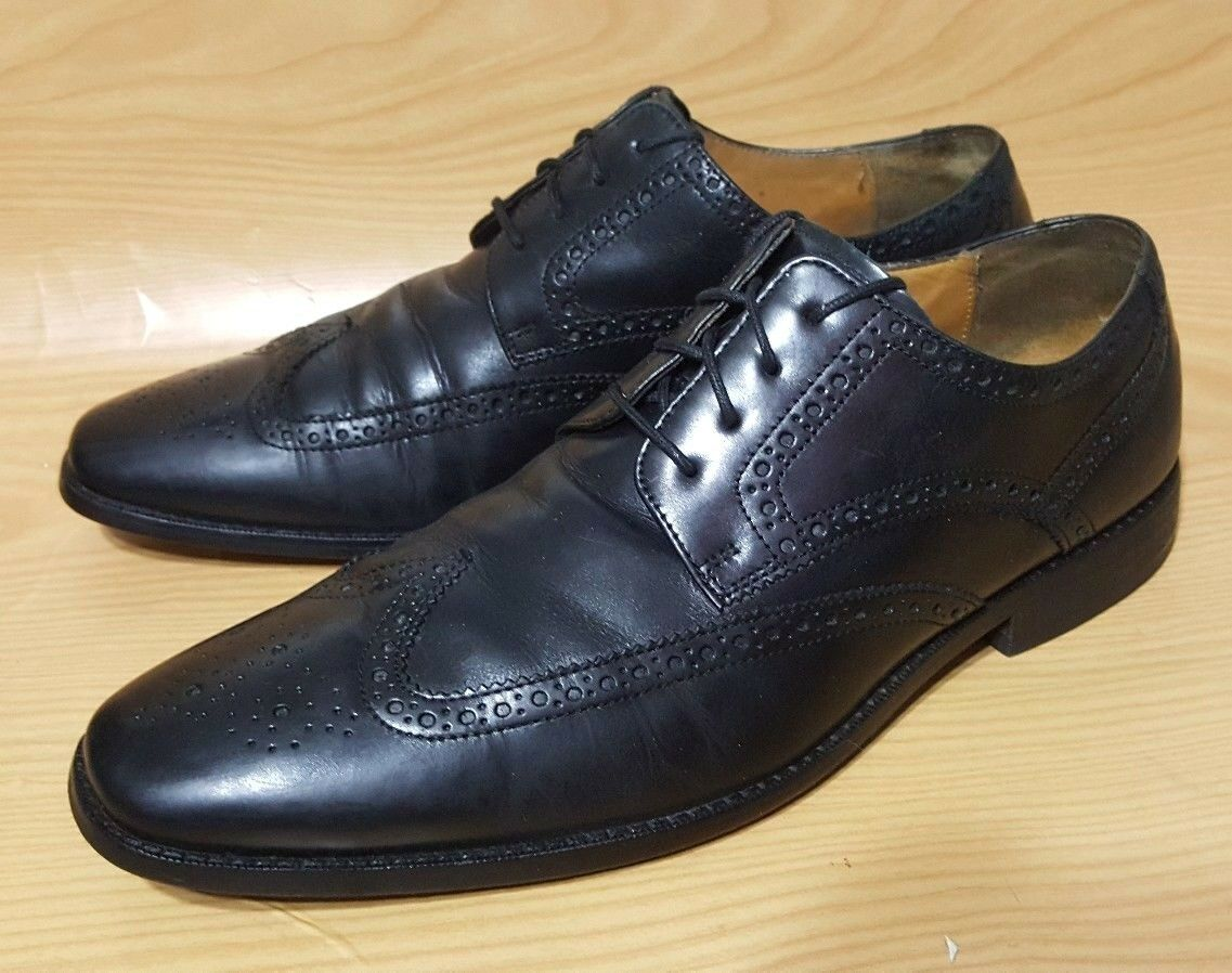 Cole Haan Wing Tip Black Oxfords 12 M Mens Lace Up Leather shoes