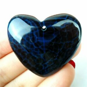 Unique black white fire agate heart shaped pendant stone EA1906