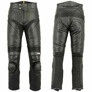 Mens-Leather-Biker-Pants-Slim-Heavy-Duty-Lining-Motorcycle-Jeans-Trousers-Black
