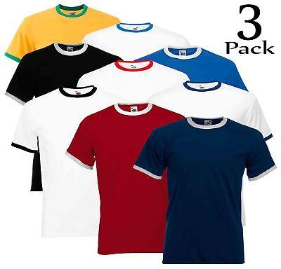 3 Pack Fruit Of The Loom Maniche Corte Da Uomo Semplice Ringer T-shirt Maglietta Due Tonalità-mostra Il Titolo Originale