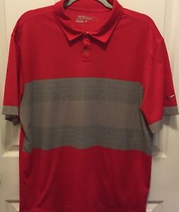 Men-s-Large-Nike-Dri-Fit-Golf-Tour-Performance-Short-Sleeve-Polo-Shirt-Red-Gray