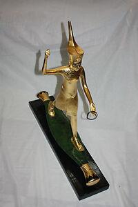 "Egyptian Resin Ankh Statue Gold leaf on Black Base 7.25/"" Beautiful #2502"