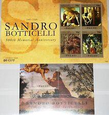 PALAU 2010 2956-59 Block 231 500 Ann Botticelli Paintings Gemälde Art Kunst MNH