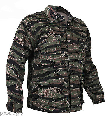 tiger stripe camo bdu shirt military style camouflage coat rothco 7990