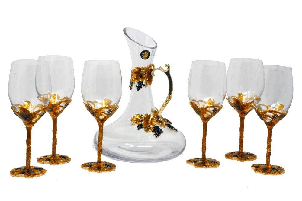 Rgold Emaillés et Jeweled Bohème Cristal Vin Verres Verres Ensemble avec Cruche