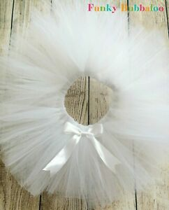 White Tutu Baby Girl Party Birthday Bridesmaid Christening Cake Smash Photo Prop
