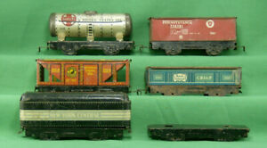 O-Scale-Vintage-Tin-Toy-Train-Cars-Missing-Parts