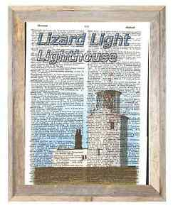 Lizard Lighthouse Cornwall England Altered Art Print Upcycled Vintage Dictionary