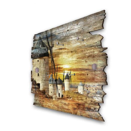 Windmühlen Schlüsselbrett Hakenleiste Landhaus Shabby chic aus Holz 30x20cm