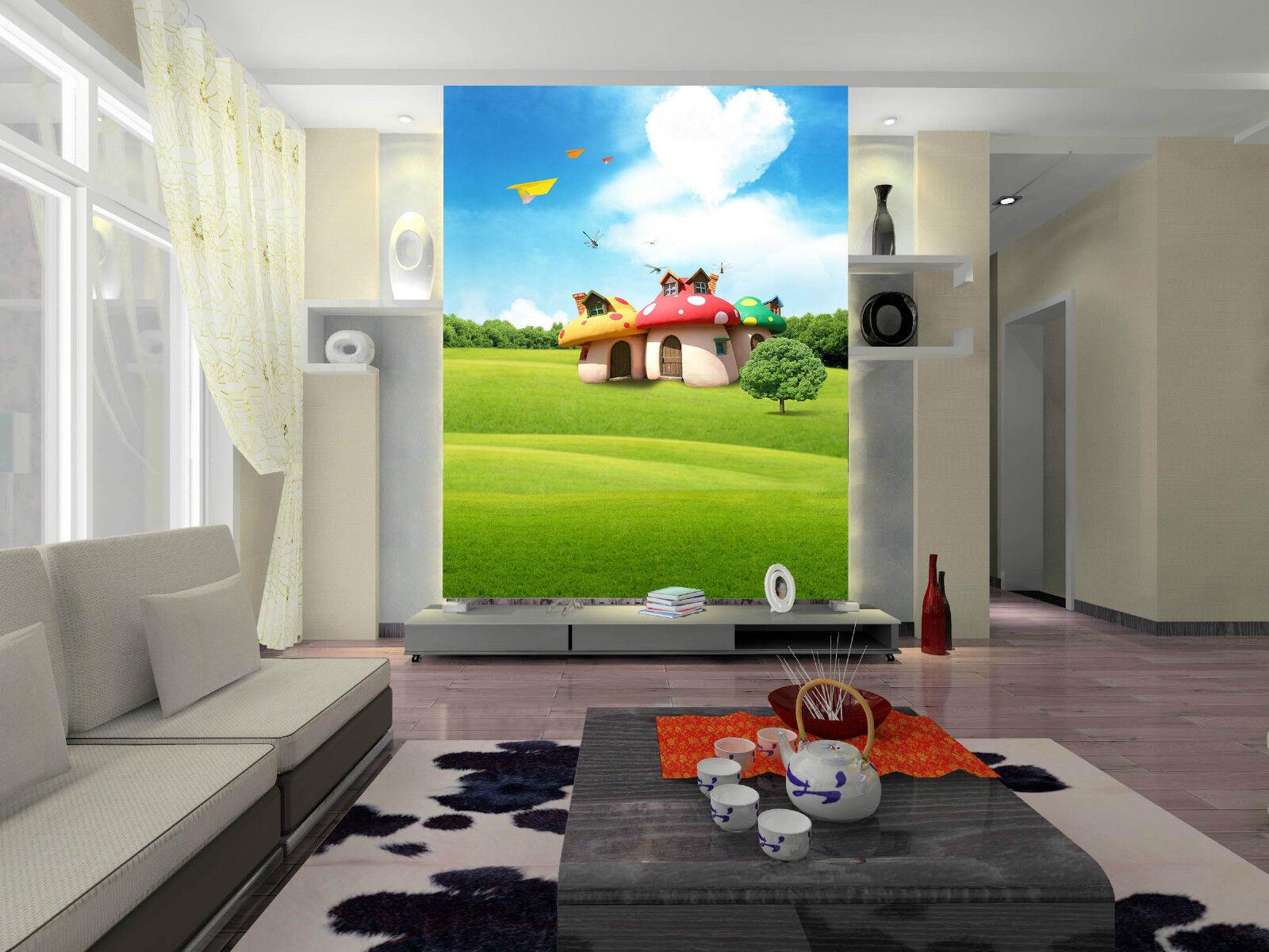 3D Die WIESE ein Haus 15223 Fototapeten Wandbild Fototapete BildTapete Familie