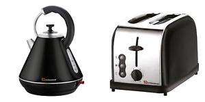 1.8L Cordless Electric Swivel Kettle /& Two Slice Wide Bread Toaster Set Black