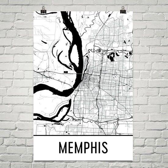 Memphis TN Straße Map Poster