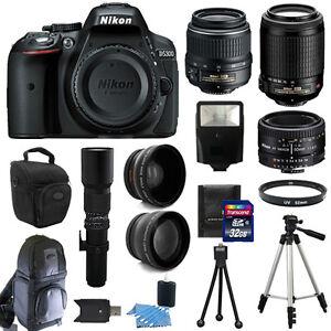 Nikon D5300 SLR Camera +6 Lens Kit 18-55 VR +55-200 VR +50 mm +500mm