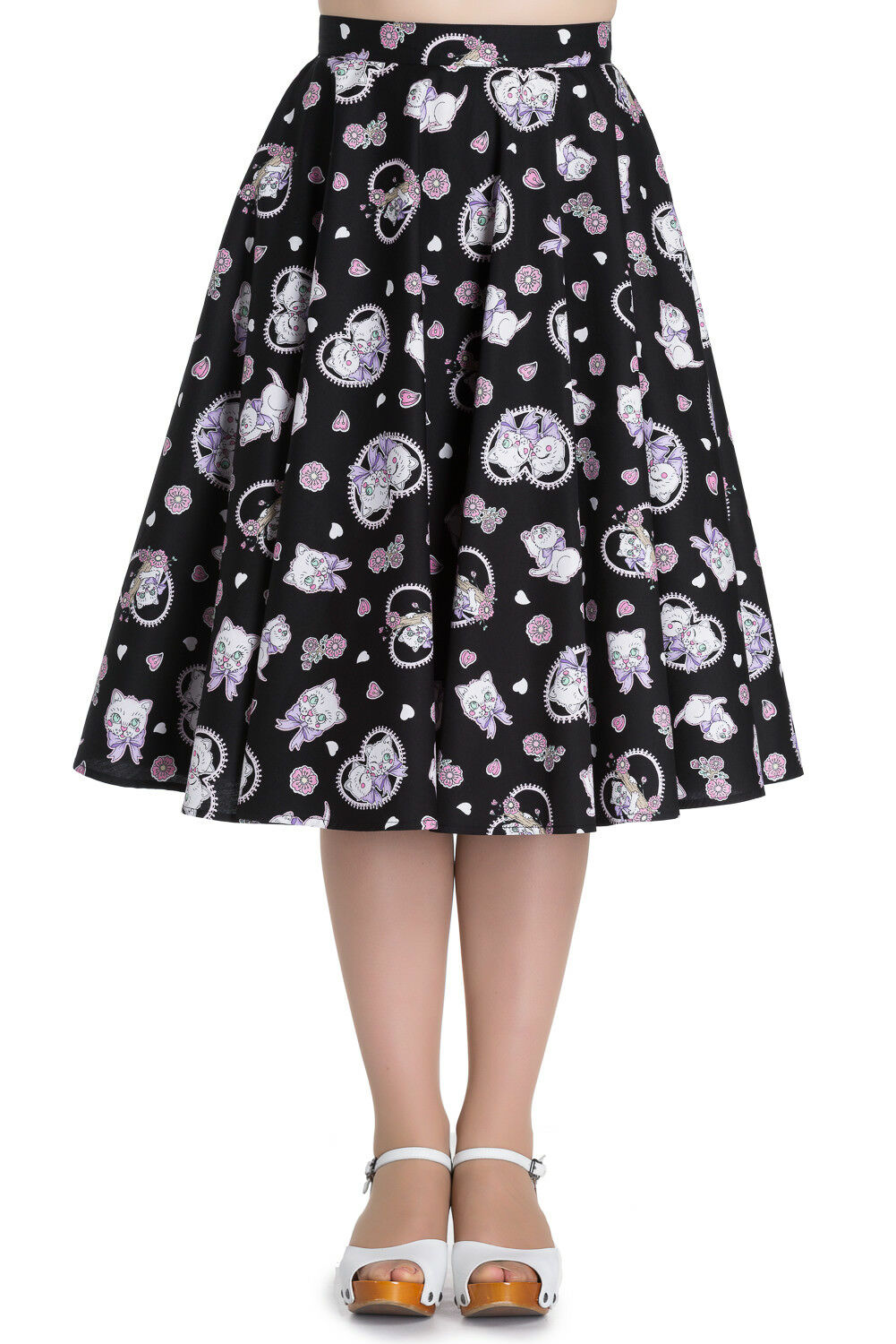 Hell Bunny Kitty Blossom Kawaii Kittens and Floral Print Circle Skirt