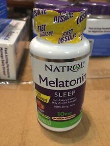 Natrol MELATONIN 10mg Maximum Sleep FAST DISSOLVE 75 Strawberry tabs 03/22