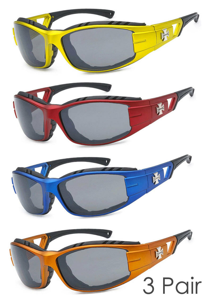 1 Pair Chopper Wind Resistant Pad Sports Motorcycle Sunglasses 9 Color Avail C51