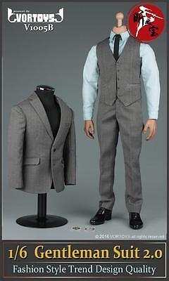"""VORTOYS 1/6 Gray Men's Gentleman Suit Clothing Set F/12"""" Male Action Figure"""