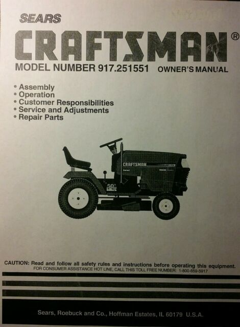 sears craftsman 50 6 riding lawn garden tractor mower owner rh ebay com sears tractor parts manual sears lawn mower parts manual