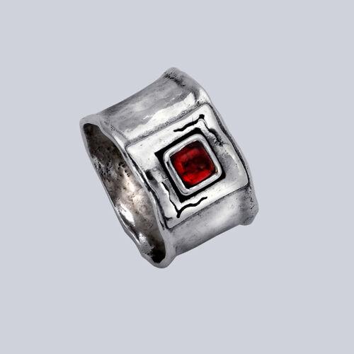 R00183GR SHABLOOL ISRAEL Didae Garnet Sterling Silver 925 Ring Sz 6 7 8 9