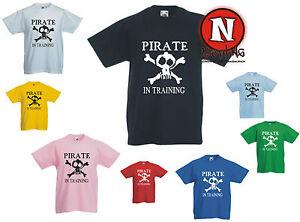 PIRATA-EN-ENTRENAMIENTO-del-caribe-Capitan-Jack-Infantil-camiseta-1-13-anos