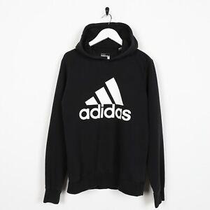 Détails sur Vintage Adidas Grand Logo Sweat Shirt à Capuche Noir COURTE S