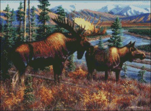 Counted Cross Stitch Kits Chart Needlework Crafts DIY Deer Elk Moose 3