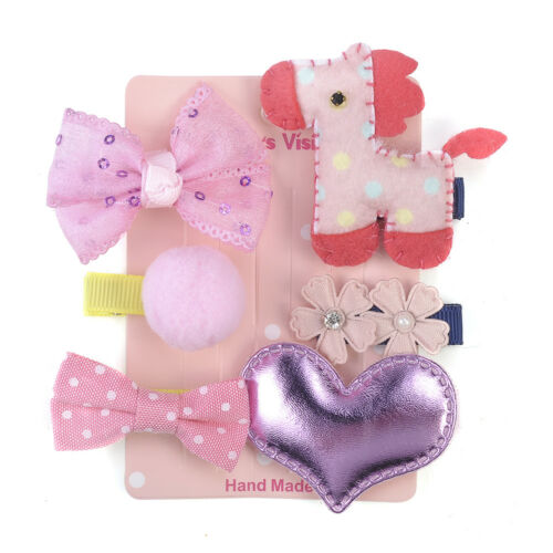 6Pcs//set Infant Baby Girl Hair Clip Bow Animals Mini Barrettes Kids Cute Hairpin