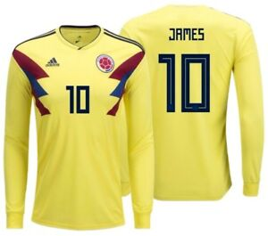 new concept bef15 e94dc Details about ADIDAS JAMES RODRIGUEZ COLOMBIA LONG SLEEVE HOME JERSEY WORLD  CUP 2018.