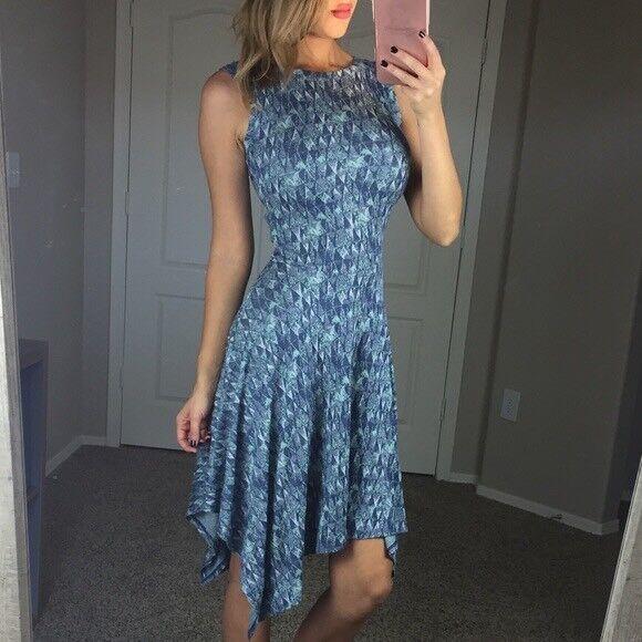BCBG MAXAZRIA  Eleyna  Knit Jacquard Dress - Asymmetrical-Sleeveless-XS  ️