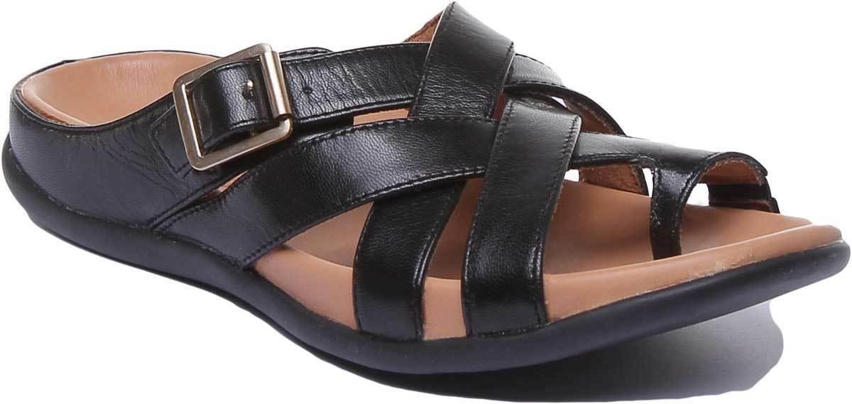 Se esfuerzan Montauk Mujer de Cuero Negro Toe Post Sandalias Gladiador tamaño de Reino Unido 3 - 8