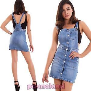 separation shoes 1a3b3 9b7ca Dettagli su Vestito donna jeans overall tutina skinny bottoni miniabito  nuova ML-2274