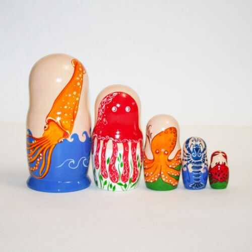 Nesting dolls ocean dwellers Squid Jelly Fish Octopus Lobster Crab signed modern